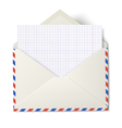 Opened air mail envelope with white sheet vector image vector image