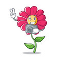 photography pink flower character cartoon vector image vector image