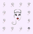 pillbox girl hat icon hat girl icons universal vector image