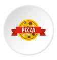 pizza badge with red ribbon icon circle vector image vector image