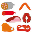 Pork meat and salami vector image vector image