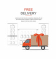 red cargo delivery isolated on city background vector image vector image