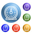 retro kitchen timer icons set vector image