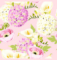 seamless pattern with hydrangea and white flowers vector image vector image