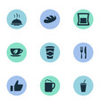 set of simple cafe icons vector image