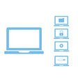 simple laptop with data processing icons vector image vector image