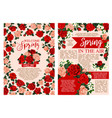 spring holiday greeting banner of blooming flower vector image vector image