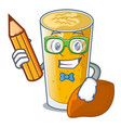 student lassi mango in a cartoon bottle vector image vector image