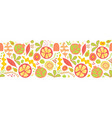 summer fruits and leaves seamless border vector image vector image