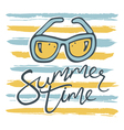 summer time card with sunglasses and stripes vector image vector image