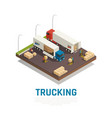 Trucking isometric composition