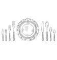 vintage table setting hand drawn dinner knife vector image vector image