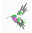 Watercolor blue hummingbird in flight vector image
