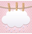 White paper cloud on a clothesline vector image vector image