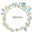 Winter Objects On Round Frame vector image