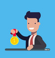 young businessman or manager with the gold medal vector image