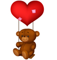 Balloon shaped read heart little girl swing vector image