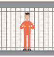 the prisoner behind bars convict inside jail vector image