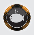 button with orange black tartan - fish with smoke vector image