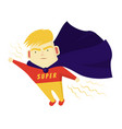 cute boy blondes super hero purposefully move the vector image