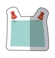 sticker blue note with red tack element office vector image