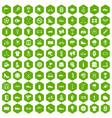100 sneakers icons hexagon green vector image vector image