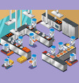 1isometric robotic restaurant composition vector image vector image