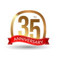 35 years anniversary experience gold label with vector image vector image
