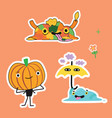 autumn cartoons stickers vector image vector image