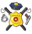 Badge handgun and batons police vector image vector image