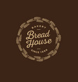 bakery logo bread shop emblem wreath spikelet vector image vector image
