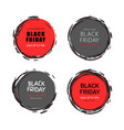 black friday sale round stickers with sketch frame vector image vector image