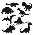 black silhouettes isolated dinosaurs vector image vector image