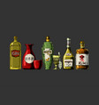 bottles alcohol distilled beverage vector image