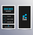 Business card template - vertical black and blue vector image