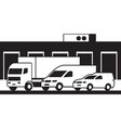 cargo vehicles and warehouse vector image vector image