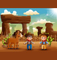 cartoon cowboy and cowgirl with a horse in des vector image vector image