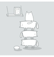Cats stacked to reach cat food vector image