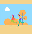 children boy girl jogging vector image