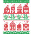 Christmas Swedish winter houses in red and green vector image vector image
