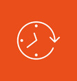 clock arrow on the orange background vector image