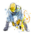 Colored hand sketch construction worker vector image vector image