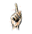 colored hand sketch of hand with pointing finger vector image
