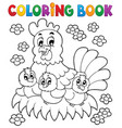 coloring book chicken theme 1 vector image vector image