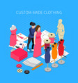 custom made clothing isometric concept vector image vector image