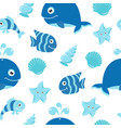 cute seamless pattern with cartoon sea animals vector image vector image