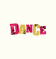 dance concept colorful stamped word vector image vector image