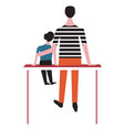 father sits with daughter on bench and hugs her vector image vector image