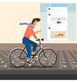 Funny handsome guy rides a bike vector image vector image