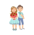 Girl With The Bouquet And Shy Boy Next To Her vector image vector image